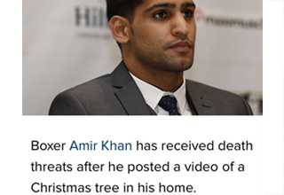 photo of muslim boxer Amir Khan and a christmas tree