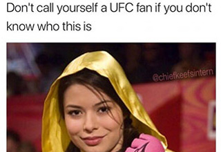 meme of girl dressed as UFC figher