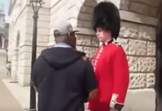 guy bothering a queen's guard get's rocked to sleep