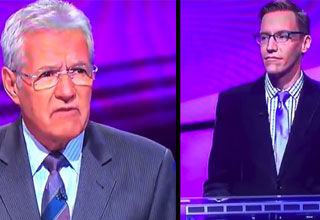 alex trebek and jeopardy contestant on the set of the show