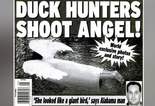 tabloid cover that says men shot angel