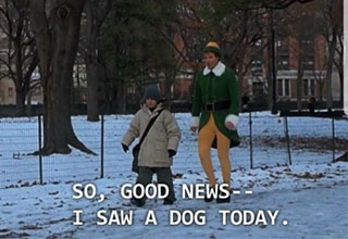Buddy the Elf telling his friend about the dog he saw