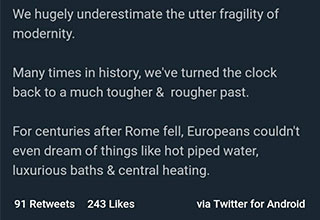 Tweet by Farooq Butt about the modernity of the world and an image of a collapsing rome
