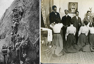 Two old images, one of men climbing a hill and one of women on their knees