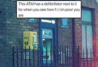an atm meme with a defibrillator and a helicopter rescuing another helicopter