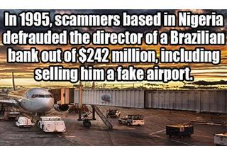 a photo of an airport with white text about scammers making off with 250 millions