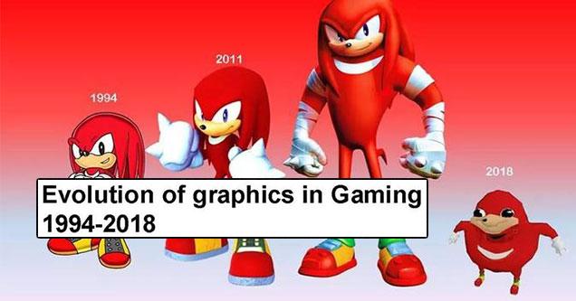 evolution of gaming meme: Ugandan Knuckles