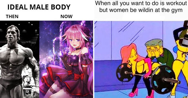 simpsons meme about women in the gym and an ideal male body meme