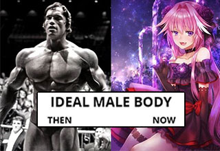 ideal male body meme of arnold and an anime girl