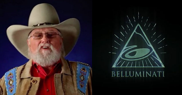 country legend charlie daniels next to Taco Bells newest ad campaign belluminati