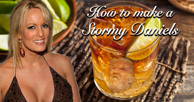 pron star stormy daniels and a glass of whiskey with text that says how to make a stormy daniels