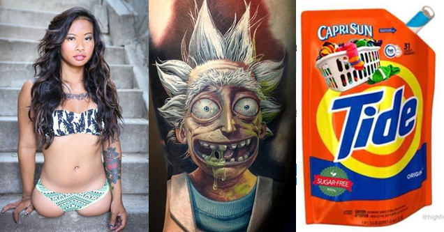 an amputee woman wearing a camouflage top, a rick and morty tattoo, and a tide capri sun
