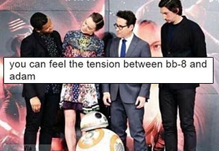 adam driver and bb-8 have a staring contest