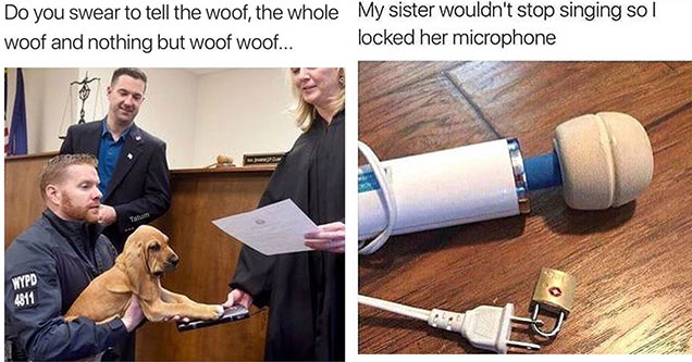 god swearing in court meme and a vibrator meme