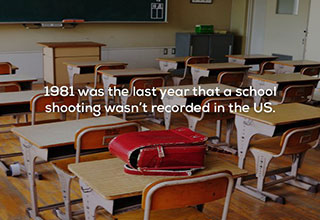 an empty classroom with a fact about school shootings
