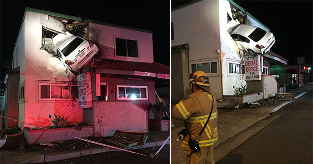 car crashed into the second floor of a Santa Ana building