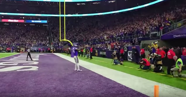 Viking's crowd goes nuts after winning Touchdown
