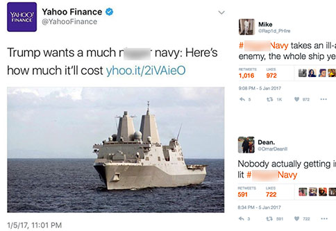 a bad tweet by yahoo about the navy and black twitters reaction