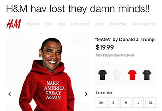 Barak Obama in a MAGA sweatshirt