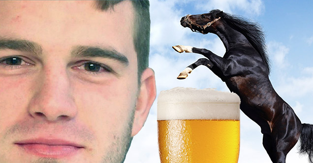 drunk football fan and horse and beer