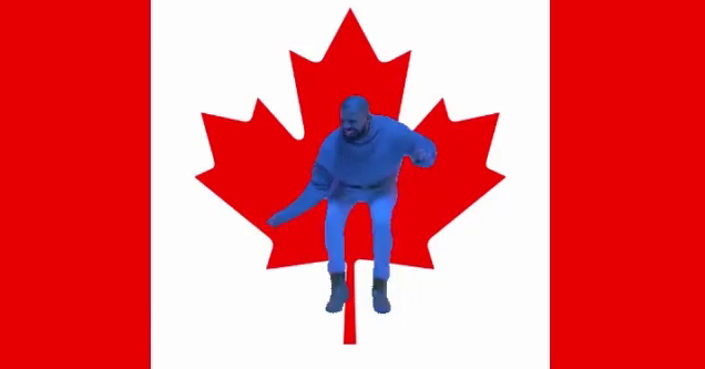 Drake dances on the Canadian flag