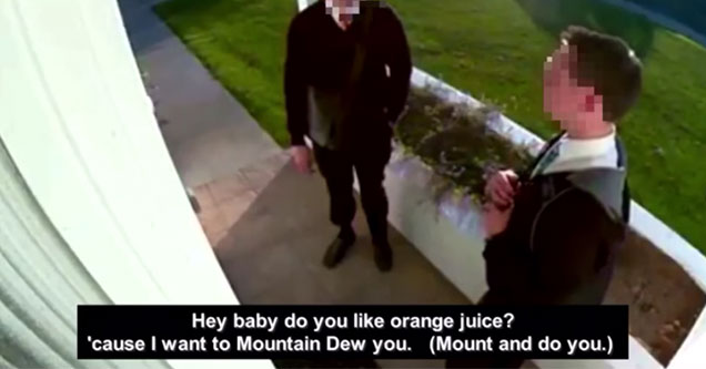 two mormons waiting for a home owner seen on cctv camera