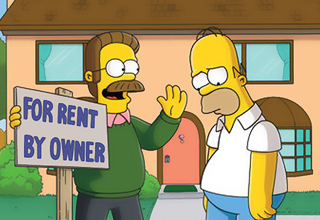 Homer saddened by Flanders as house is given up for rent