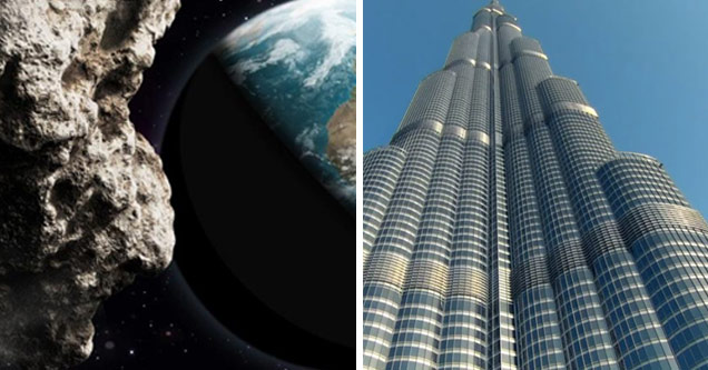 a giant asteroid approaching earth and the burj khalifa in dubai