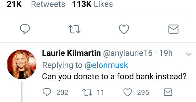 a twitter screenshot of a tweet by a blonde haired woman criticizing elon musk