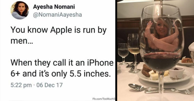 a post from a woman about apple calling a 5.5 inch phone 6 plus, and a woman pretending to be trapped in a glass of wine