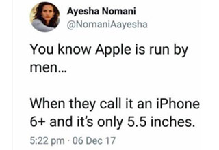 a post from a woman about apple calling a 5.5 inch phone 6 plus