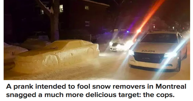 a car made of snow on a snowy road and two police cars with their lights flashing