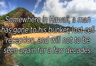 a photograph of the island of hawaii with text that about the recent incoming missile false alarm