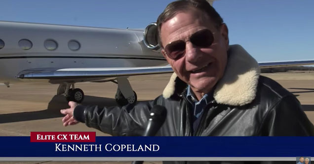 Televangelist Kenneth Copeland presents his new shit bird jet.