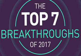 purple background with green and white text  that read the top 7 breakthroughs of 2017