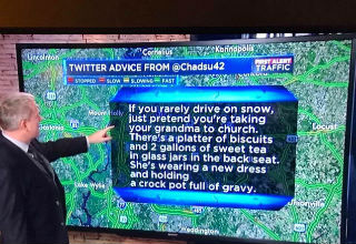 weatherman points at tweet