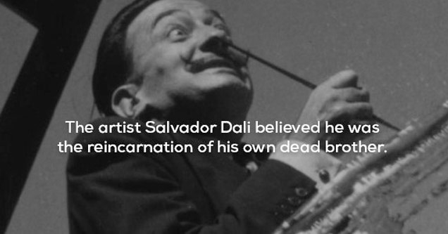 a black and white photo of salvatore dali with text about him believing he was the reincarnation of his dead brother