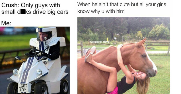 a man in a tiny car and a woman hugging a horse by the neck and hanging from him with text about being well endowed