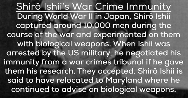 a photo of shiro ishii with text about him being pardoned from war crimes