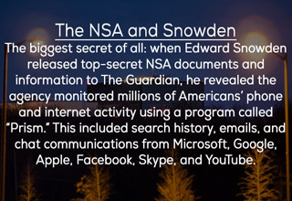 an image of a building with text about the NSA and edward snowden and the spying program named prisim