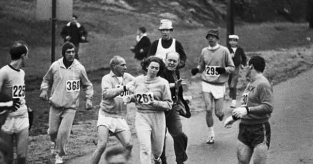 a woman being attacked while running the Boston marathon