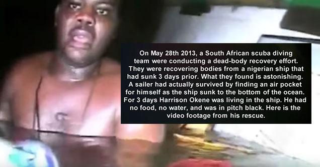 black man rescued from a sunken scuba ship
