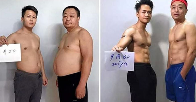 father and son lose weight together