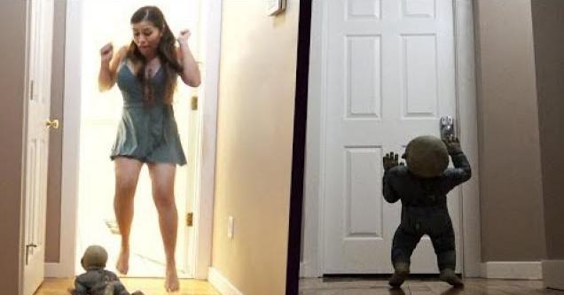 Scary baby prank on girlfriend