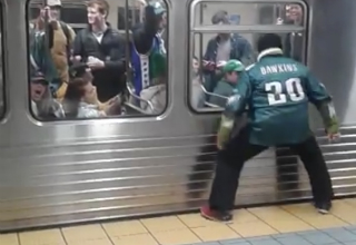 eagles fan staring at train