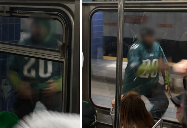 Philadelphia Eagles fan in a subway celebrating their win