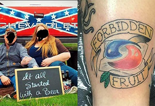 couple sitting behind their truck with beer and a tide pod tattoo