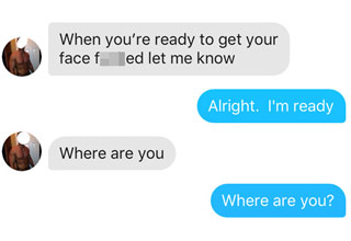 a screenshot of a tinder conversation with an overly-aggressive shirtless tool