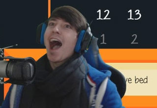 twitch streamer wearing blue jacket and black scarf with blue and black headphones screams into the microphone while a game plays behind him in the background