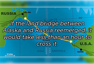 cool fact about the land bridge between Russia and America